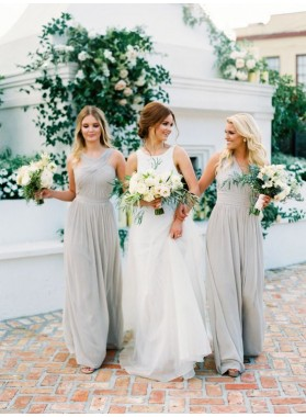 2021 Cheap A Line Silver Halter Chiffon Long Bridesmaid Dresses / Gowns