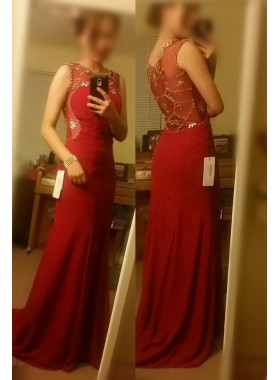 2019 Gorgeous Red Beading Jewel Neck Chiffon Prom Dresses