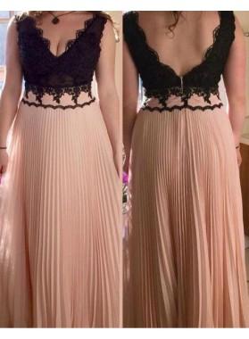 Lace Pleated A-Line/Princess Chiffon Prom Dresses