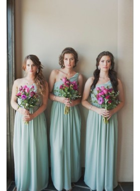 2021 One Shoulder A Line Chiffon Long Bridesmaid Dresses