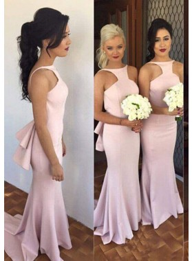 2020 New Arrival Satin Pink Backless High Neck Long Bridesmaid Dresses / Gowns