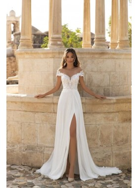 2020 A Line Chiffon Wedding Dresses