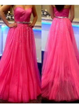 Sweetheart Zipper A-Line/Princess Tulle Prom Dresses