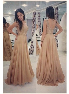 Backless Beading A-Line/Princess Chiffon Champagne Prom Dresses