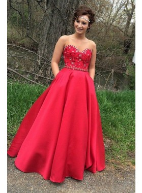2019 Gorgeous Red Appliques Sweetheart Satin Prom Dresses