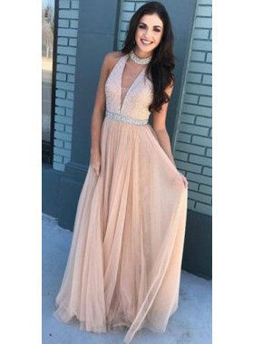 2019 Charming Princess/A-Line Tulle V-neck Pearl Pink Prom Dresses