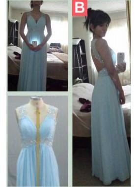 LadyPromDress 2019 Blue Beading Straps Backless A-Line/Princess Chiffon Prom Dresses