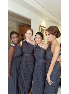 2021 Newly A Line One Shoulder Light Slate Gray Chiffon Bridesmaid Dresses / Gowns