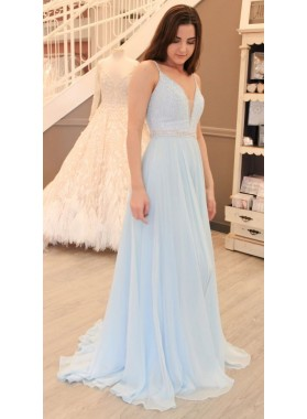 2019 Siren Princess/A-Line Sweetheart Chiffon Light Sky Blue Prom Dresses