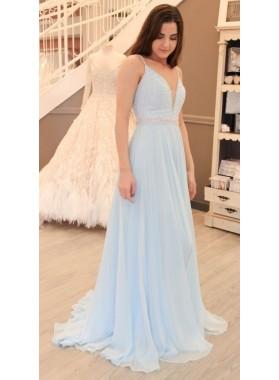 2019 Siren Princess/A-Line Sweetheart Chiffon Light Sky Blue Prom Dresses