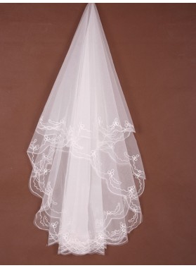 Beautiful 2 Layer Waltz With Embroidery Wedding Veil