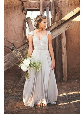 2021 Cheap A Line Chiffon Silver Sweetheart Floor Length Bridesmaid Dresses / Gowns