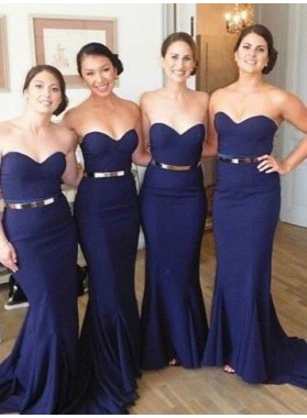 2021 Cheap Mermaid Dark Navy Sweetheart With Belt Long Bridesmaid Dresses / Gowns