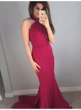 2019 Sexy Mermaid/Trumpet Burgundy Satin 2019 Cheap Prom Dresses