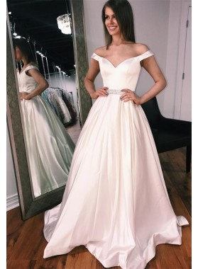 2019 Elegant Sweetheart Satin Off The Shoulder White Prom Dresses