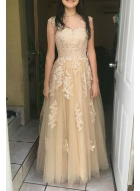 2019 Cheap Princess/A-Line Champagne Tulle Prom Dresses With Appliques