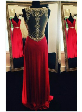 2019 Gorgeous Red Beading Sheer Back Prom Dresses