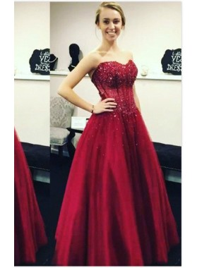 2018 Gorgeous Red Appliques Sweetheart Ball Gown Satin Prom Dresses