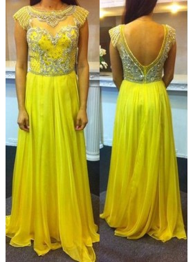 Prom Dresses Yellow Round Neck Crystal Backless A-Line/Princess Chiffon