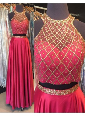 Burgundy Crystal Pleated Satin Two Pieces Prom Dresses
