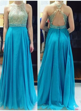 LadyPromDress 2018 Blue Backless Crystal A-Line/Princess Chiffon Prom Dresses