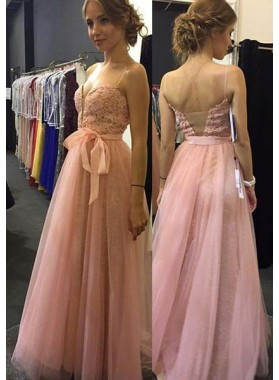 Prom Dresses Spaghetti Straps Lace Backless A-Line/Princess Tulle