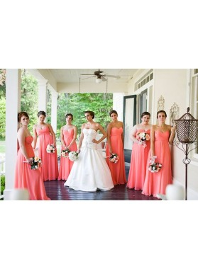 2021 Cheap A Line Chiffon Water Melon Strapless Long Bridesmaid Dresses / Gowns