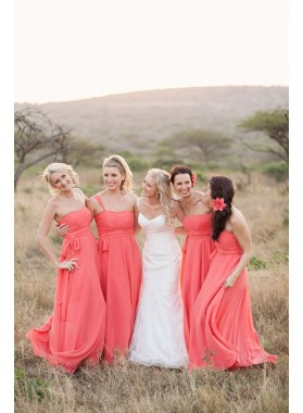 2020 Cheap A Line Water Melon Chiffon Strapless Long Bridesmaid Dresses / Gowns