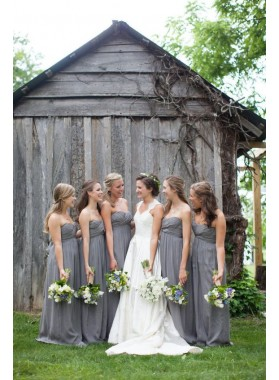 2021 Cheap A Line Grey Chiffon Strapless Ruffles Long Bridesmaid Dresses / Gowns