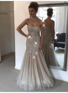 Shinny Mermaid/Trumpet Tulle Beaded Champagne Sweetheart Prom Dresses