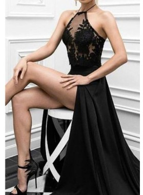 2019 Sexy Black Princess/A-Line Side Slit Prom Dresses