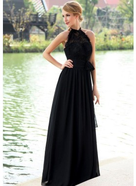 2020 Elegant A Line Black Chiffon High Neck Lace Long Bridesmaid Dresses / Gowns