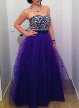 Beading Sweetheart Ball Gown Tulle Purple Prom Dresses