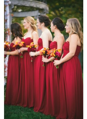 2021 Cheap A Line Red Strapless Long Chiffon Bridesmaid Dresses / Gowns