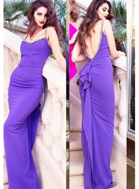 Prom Dresses Straps Beading Open Back Column/Sheath