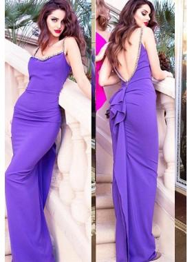 Prom Dresses Straps Beading Open Back Column/Sheath