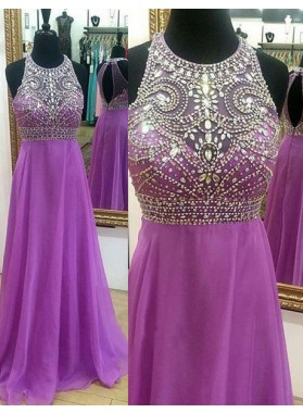 Crystal Detailing A-Line/Princess Chiffon Prom Dresses