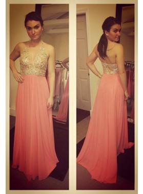 Beading Halter Chiffon Prom Dresses