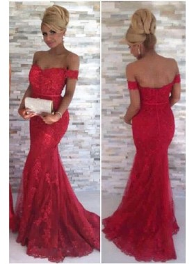 2021 Gorgeous Red Off-the-Shoulder Appliques Mermaid/Trumpet Tulle Prom Dresses