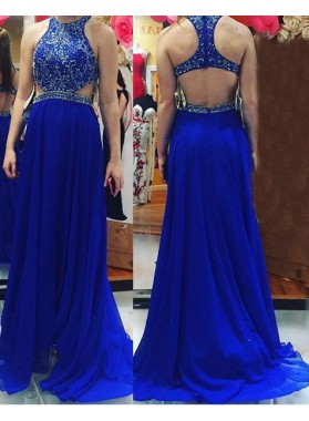 LadyPromDress 2019 Blue Prom Dresses Sleeveless Beading Round Neck A-Line/Princess Chiffon