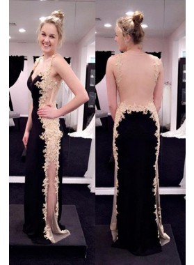 2018 Junoesque Black Appliques Sheer Back Satin Prom Dresses