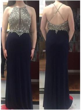 2019 Junoesque Black Criss Cross Backless Crystal Column/Sheath Prom Dresses