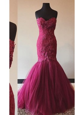 2018 Gorgeous Red Beading Appliques Sweetheart Mermaid/Trumpet Prom Dresses