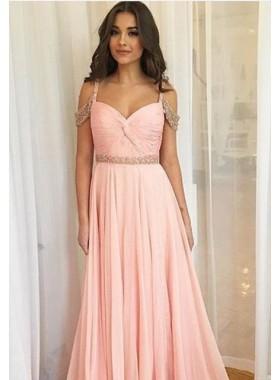 Beading Ruching Straps Chiffon Prom Dresses