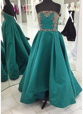 Prom Dresses Strapless Beading A-Line/Princess Satin