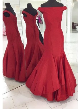 2018 Gorgeous Red Off-the-Shoulder Zipper Mermaid/Trumpet Satin Prom Dresses