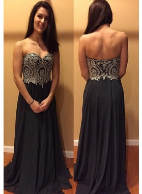 2019 Junoesque Black Appliques Sweetheart Chiffon Prom Dresses