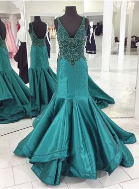 V-Neck Beading Mermaid/Trumpet Satin Prom Dresses