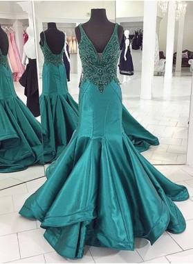 V-Neck Beading Mermaid/Trumpet Satin Prom Dresses