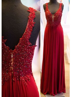 2019 Gorgeous Red Beading Appliques Straps Prom Dresses